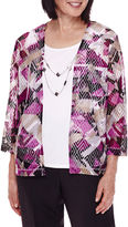 Alfred Dunner 3/4-Sleeve Geometric-Print Layered Top with Necklace