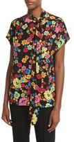 Moschino Short-Sleeve Floral-Print Tie-Neck Blouse