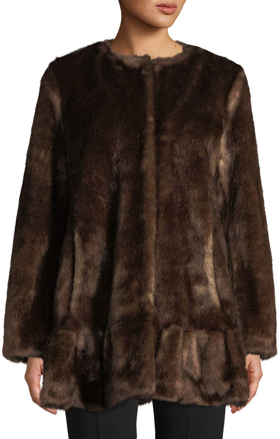 Kate Spade Faux-Fur Mink Coat, Dark Brown