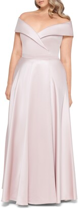 Xscape Evenings Off the Shoulder Satin A-Line Gown