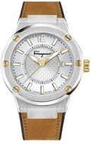 Salvatore Ferragamo 'F-80' Leather & Rubber Strap Watch, 44mm
