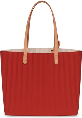 Mansur Gavriel Waxed Canvas Pleated Tote - Flamma