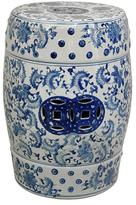"Oriental Furniture 18"" Lacquered Floral Blue and White Porcelain Garden Stool"