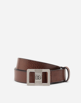 Dolce & Gabbana Tumbled Leather Belt With Logo Buckle