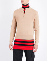 J.W.Anderson Double-layer striped turtleneck wool jumper