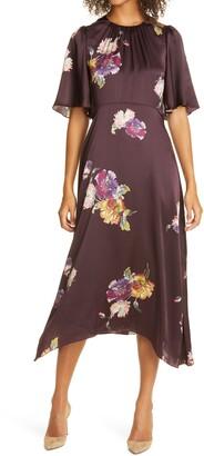 Rebecca Taylor Simone Fleur Floral Short Sleeve Silk Dress