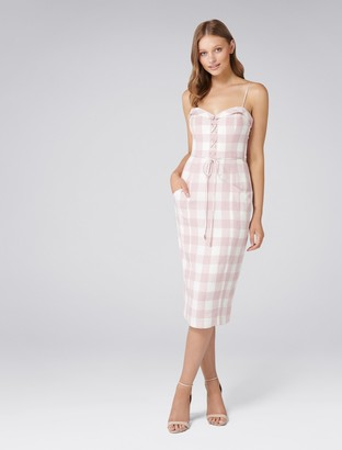 Forever New Ginger Gingham Midi Dress - Pink Gingham - 4