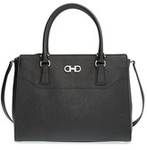 Salvatore Ferragamo Medium Saffiano Leather Tote - Black