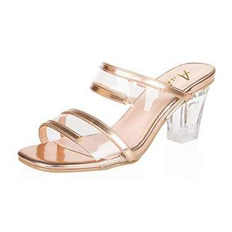 AIIT Women's Chunky High Heel Sandal Pump Shoe size5