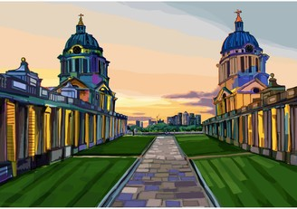 NAVAL Tomartacus Old Royal College, Greenwich Art Print