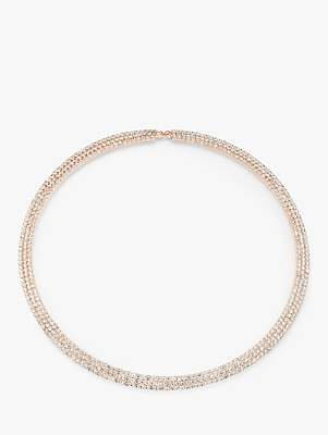 John Lewis & Partners Sparkle Stone Choker Necklace, Rose Gold