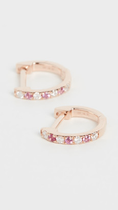 Ef Collection 14k Mini Diamond & Pink Sapphire Dot Huggie Earrings