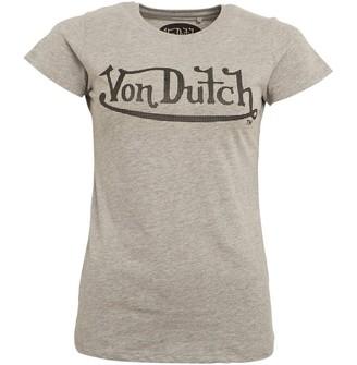 Von Dutch Womens Chicane Crew T-Shirt Grey Marl/Black