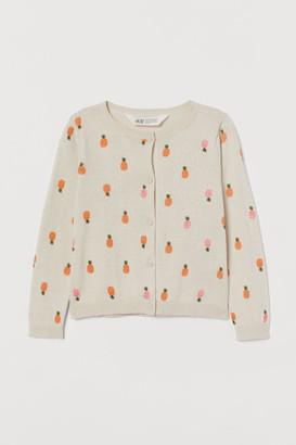 H&M Patterned Cotton Cardigan - Beige