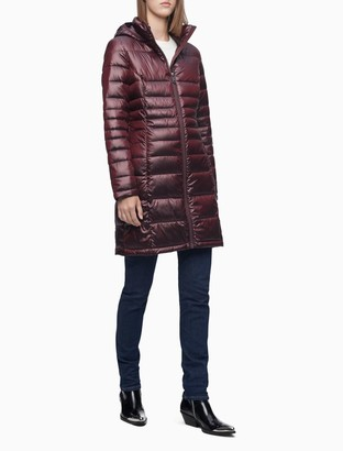 Calvin Klein Packable Down Hooded Long Puffer Coat