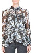 Erdem Liya Ruffled Silk Floral-Print Blouse