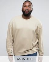 Asos PLUS Oversized Sweatshirt In Beige