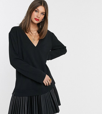 Asos Tall DESIGN Tall sweat dress with leather look pleated hem