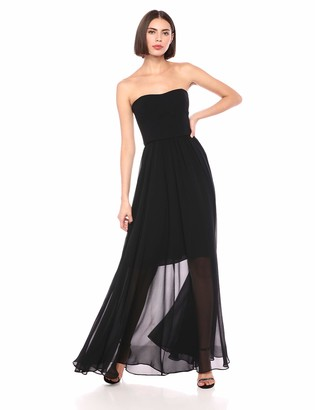 Dress the Population Women's Ella Strapless Mix Media Fit and Flare Long Gown Dress