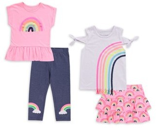 Freestyle Revolution Girls 4-6X Pink Rainbow Mix-and-Match, 4-Piece Outfit Set
