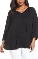 Sejour Plus Size Women's Crepe Peasant Top