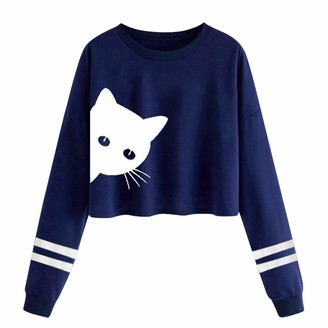 Esailq Blouse Women Pullover Top ESAILQ Ladies Animal Print Striped Short Sweatshirts Casual O-Neck Long Sleeve T Shirts Crop Top Blouses (Blue M)