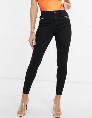 Lipsy skinny zip detail jeans