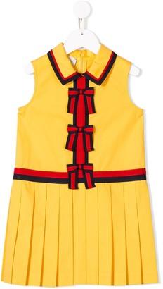 Gucci Kids Bow Trim Pleated Dress