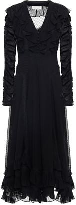 Zimmermann Lace-trimmed Ruffled Flocked Silk-georgette Midi Dress