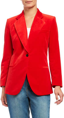 Theory Cinched Stretch Velvet Blazer