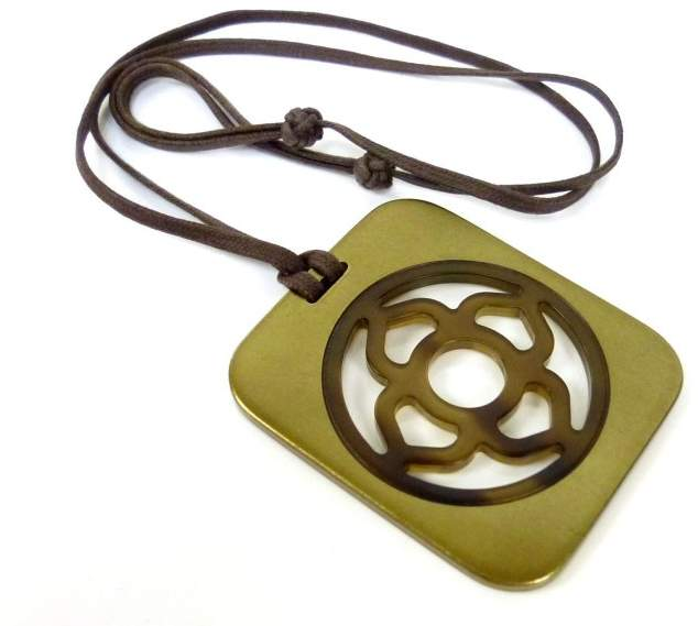 Hermes Buffalo Horn and Lacquer Pendant Necklace
