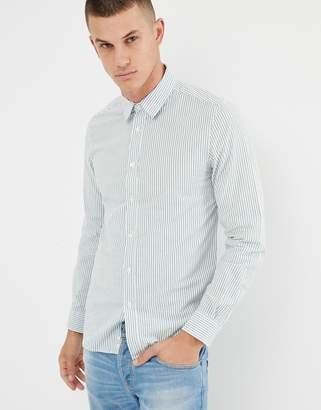 Benetton slim fit stripe shirt in white