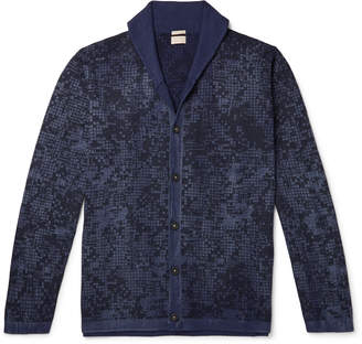 Massimo Alba Shawl-Collar Printed Cotton And Cashmere-Blend Cardigan