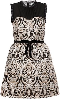 Kate Spade Georgette-paneled Ruffle-trimmed Jacquard Mini Dress