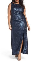Adrianna Papell Plus Size Women's Sequin A-Line Gown
