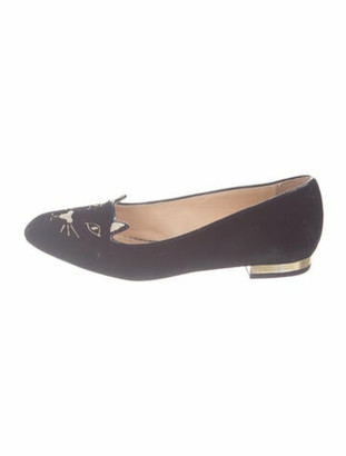 Charlotte Olympia Kitty Graphic Print Loafers Black