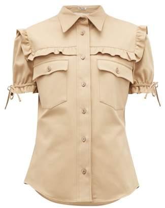 Miu Miu Ruffled Cotton-twill Shirt - Womens - Beige