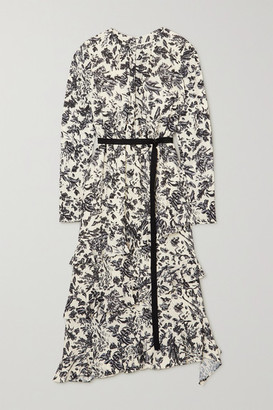 Jason Wu Belted Ruffled Floral-print Crepe De Chine Midi Dress - Beige