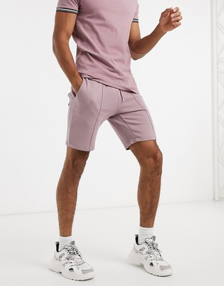 ASOS DESIGN co-ord jersey skinny shorts with pin tucks in dusty purple
