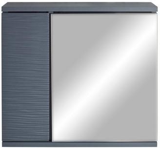 Lloyd Pascal Wave Mirrored Bathroom Wall Cabinet - Grey