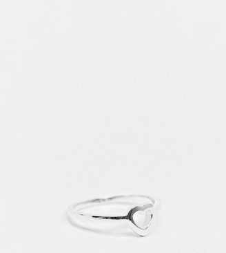 ASOS DESIGN sterling silver ring in open heart design