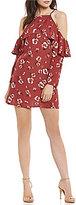 Band of Gypsies Poppy Floral Cold Shoulder Ruffle Shift Dress
