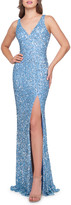 Mac Duggal 6-Week Shipping Lead Time Sequined V-Neck Sleeveless Gown with High Slit