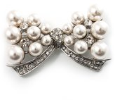 Avalaya Imitation Pearl Diamante Bow Brooch ( Tone)