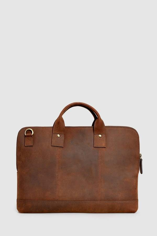 3a8943e59d02 Mens Brown Signature Leather Document Holder Briefcase - Brown
