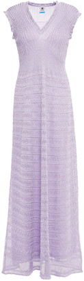 M Missoni Ruffle-trimmed Metallic Ribbed And Pointelle-knit Maxi Dress