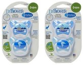 Dr Browns Dr. Brown's PreVent Pacifiers Blue 0-6 Months (2 Packs of 2) by Dr. Brown's
