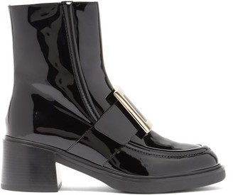 Roger Vivier Viv Rangers Buckled Patent-leather Ankle Boots - Black