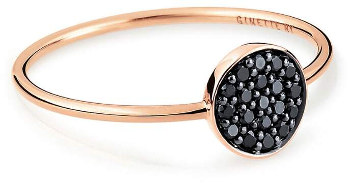 ginette_ny Mini Black Diamond Ever Disc Ring