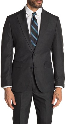 Moss Bros Charcoal Solid Two Button Notch Lapel Tailored Fit Suit Separates Jacket